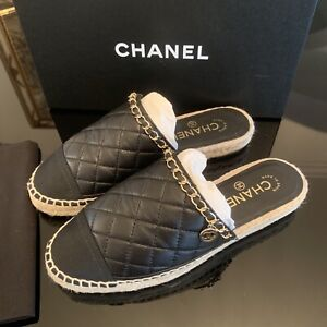 4ae6e6bb447 Image is loading Auth-Chanel-Espadrilles-Slippers-Sandals-with-Chain-Size-