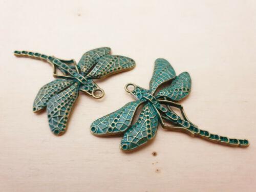 2 x Wunderschöne Libellen Anhänger ♥ Dragonfly Schmuck Deko Charms Patina Bronze