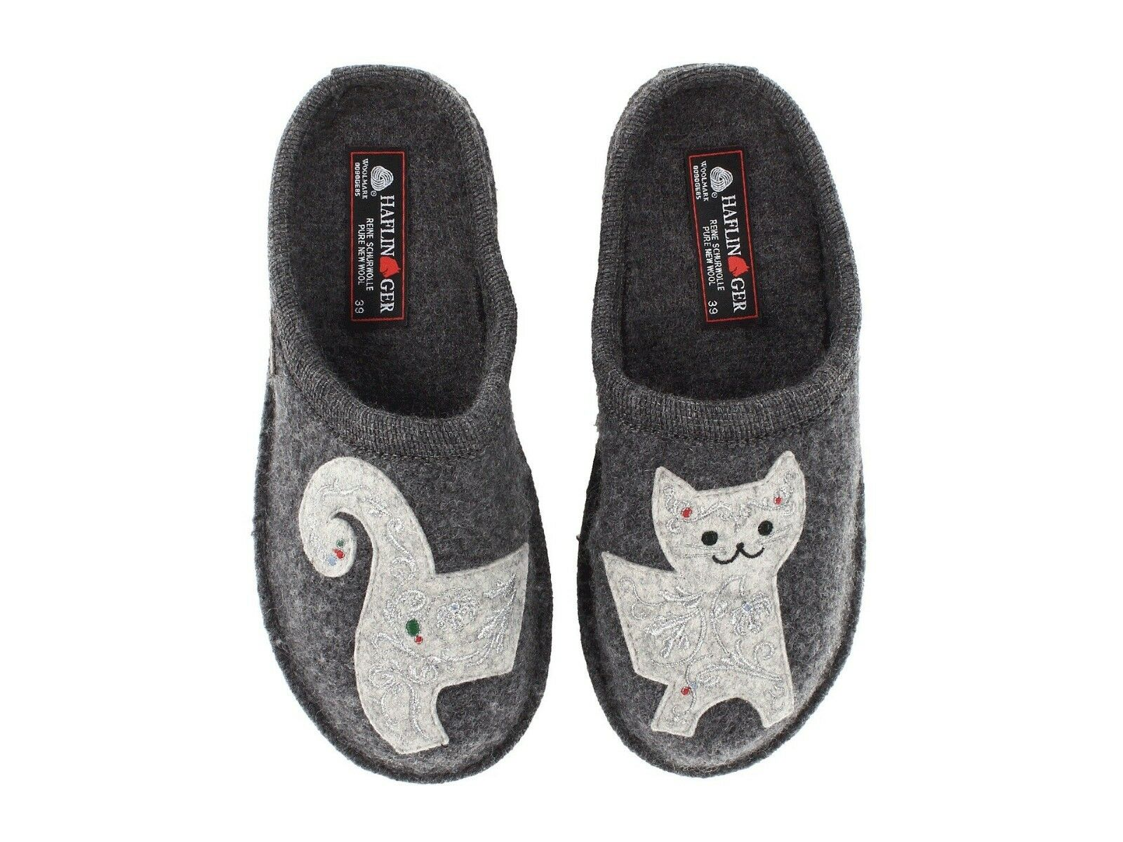 HAFLINGER femmes LIZZY CAT  INDOOR WOOL SLIPPERS