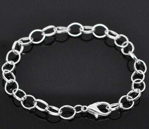 240//600//1200Pcs Wholesale Lots Silver Plated Chain Bracelets Fit Clip Charm 20cm