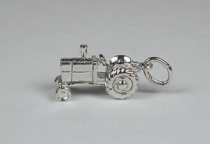 Sterling-Silver-Farm-Tractor-Charm-Free-U-S-Shipping-amp-Lobster-Claw-Clasp