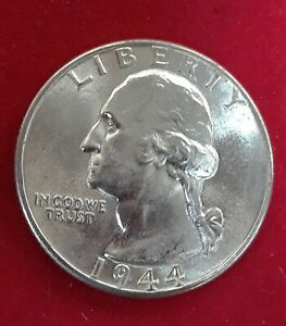 1944-S UNC Silver Washington Quarter Brilliant Uncirculated Coin BU