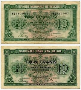 Currency-1943-Belgium-Kingdom-in-Exile-Banknote-10-Francs-or-2-Belgas-P122-VF