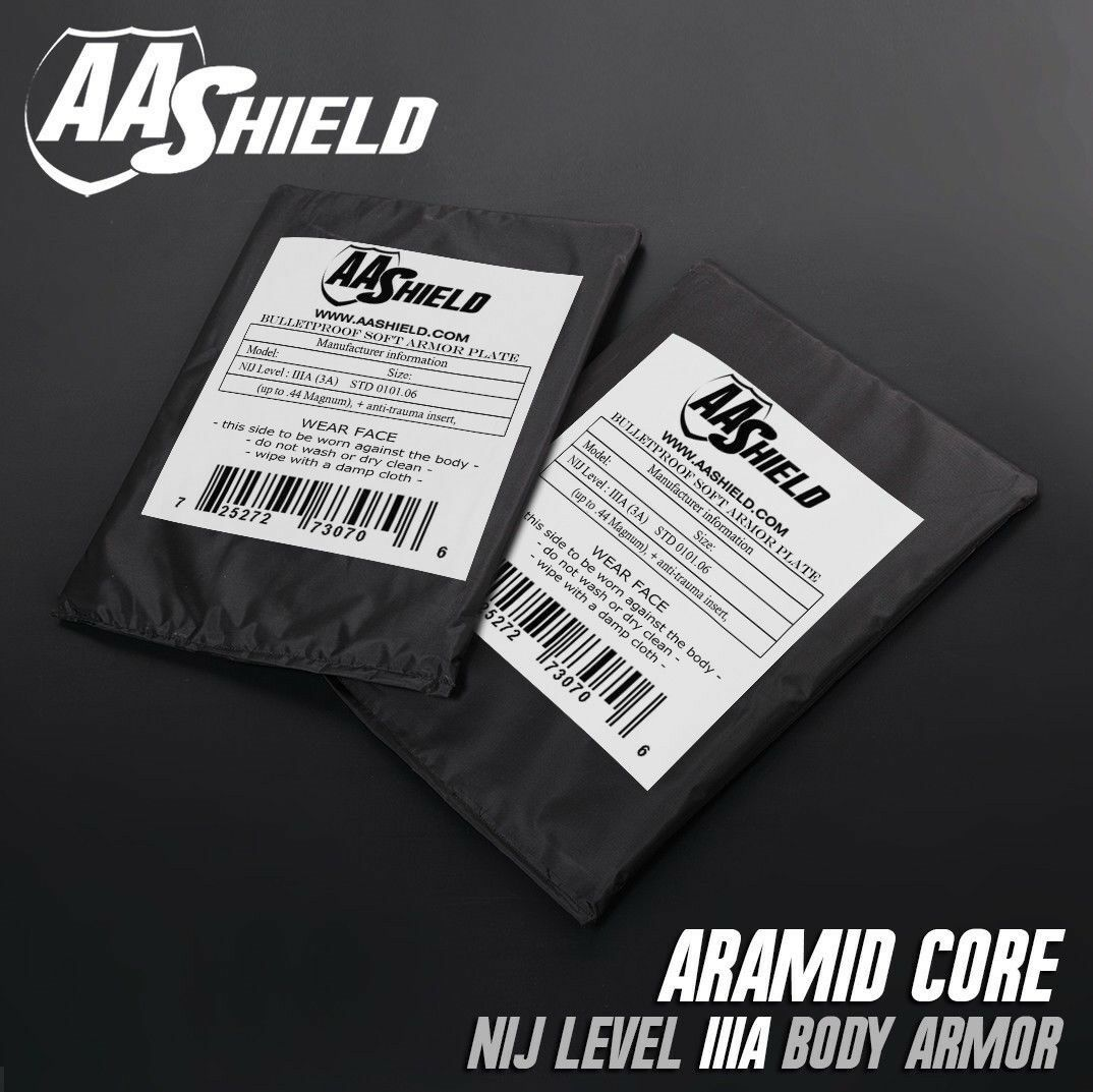 AA Shield Bullet  Proof Soft Panel Body Armor Aramid Core Lvl IIIA 3A 5x8 Pair  2018 latest