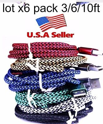 LOT6pack 3//6//10ft  Braided USB Charger Cable for Apple Lightning iPhone 5//6//6s//7