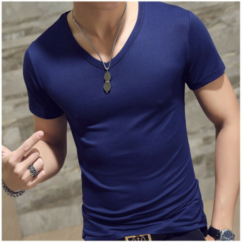 Summer Men T-shirts Solid Color Slim Fit Short Sleeve T Shirt Mens Tops TShirt