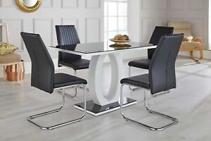 Enjoyable Details About Giovani Black White High Gloss Glass Dining Table Set And 4 Leather Chairs Seats Ibusinesslaw Wood Chair Design Ideas Ibusinesslaworg