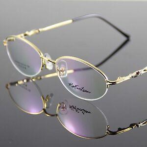 Glasses-Eyewear-Eyeglasses-Metal-Halfrim-Frame-Gold-Spectacles-Optical-Oval-RX