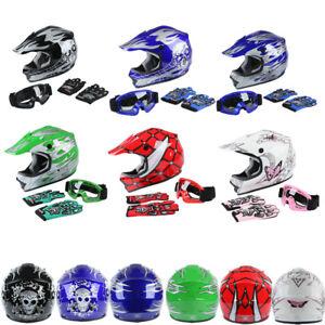 DOT-Youth-Kids-Dirt-Bike-Off-Road-Motocross-Full-Face-Helmet-Goggles-Snowmobile