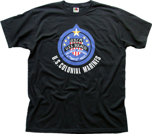 USS SULACO black t-shirt FN01450 ALIENS COLONIAL MARINES WEYLAND Yutani