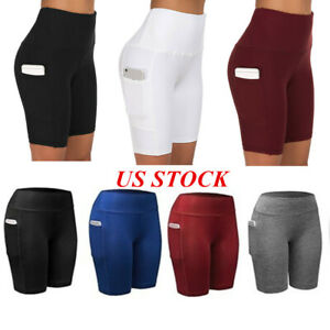 Womens High Waist Yoga Shorts Pocket Cycling Biker Hot Pants Sports Legging