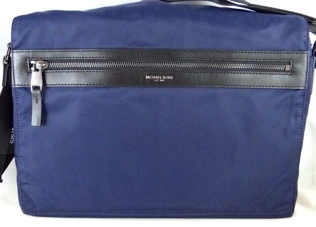 5dd27b7f998c Michael Kors Kent Nylon Large Messenger Bag Navy Blue 33f5lknm3c for ...