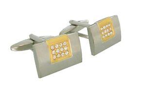Boutons-de-manchette-G-Chabrolle-bicolore-Cristaux-partie-plaque-or-Box-MK0392