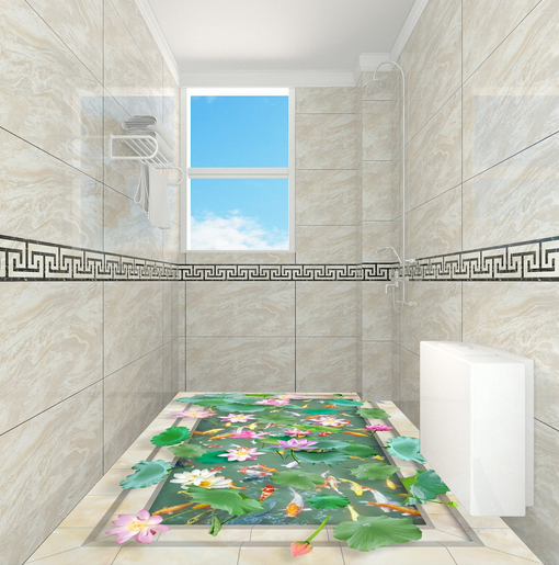 3D Lotus Pond Koi 78 Floor WallPaper Murals Wall Print Decal AJ WALLPAPER US