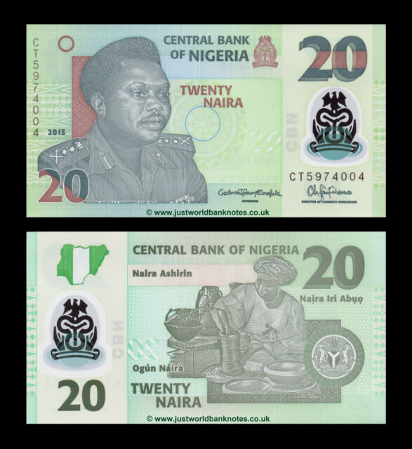 Nigeria 20 Naira 2015 Polymer P-New Mint UNC Uncirculated Banknotes