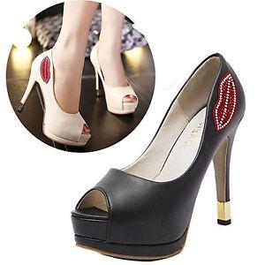 Women-Stiletto-Shoes-Platform-High-Heels-Pump-Party-Sandals-Opened-Peep-Toe