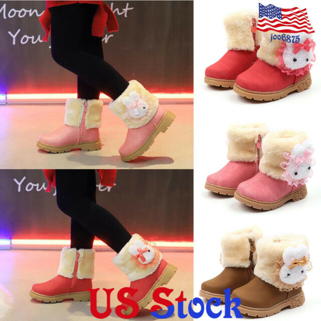 Kids Snow Boots Waterproof Toddler Infant Baby Boys Girls Winter Warm Shoes Retro Solid Wedges Slip-On Zip Casual Shoes