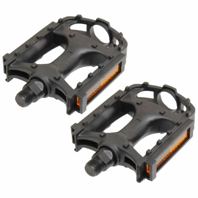 """1 x PAIR BIKE BICYCLE PEDALS BLACK CYCLE BMX MOUNTAIN BIKE WITH REFLECTORS 9/16"""""""