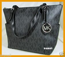 NWT MICHAEL KORS BLACK PVC JET SET EW MK SIGNATURE TOTE SHOULDER BAG PURSE