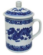 TAZZA in porcellana cinese con coperchio-Blu e Bianco-Dragon pattern