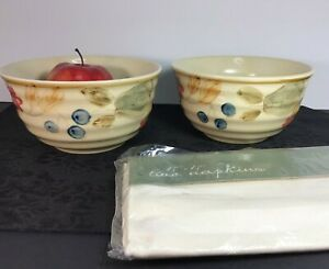 2-Gibson-Everyday-Bowls-Floral-Art-Pottery-28-Oz-Cereal-or-Centerpieces-Napkins