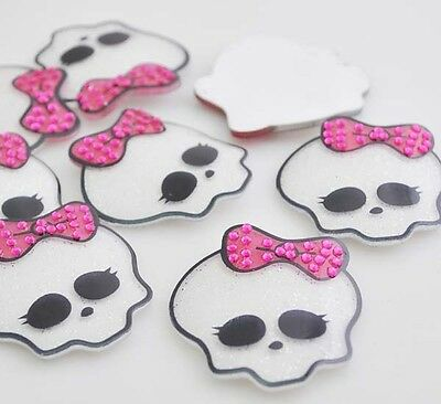 10pcs Big Skull With Bow Flatback Button DIY Scrapbooking Appliques Craft JCN106