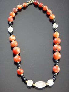 Superbe-collier-cornaline-cristal-roche-pierres-dures-Old-stone-necklace-pearl
