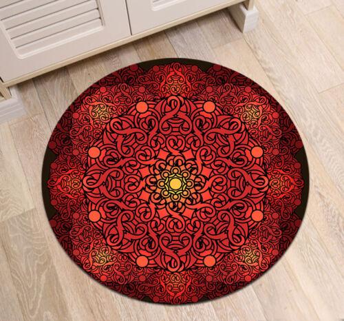 Mandala Meditation Flower Round Carpet Floor Rug Anti-Skid Fitness Yoga Bath Mat
