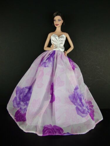 White Gown with Large Purple Rose Patterns on the Skirt Made to Fit Barbie Doll