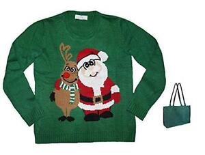 Friends Forever Pullover Christmas Sweater Womens' and Gift Bag (Medium)