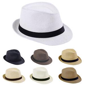 Children Boys Fedora Trilby Derby Straw Hat Wide Brim Panama Jazz ... aee8af5cc53