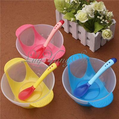 2pcs/Set Baby Suction Bowl Temperature Colour Changing Spoon Feeding Tableware