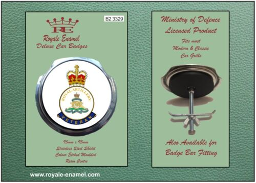Royale Classic Car Grill Badge + Fittings - ROYAL ARTILLERY VETERAN - B2.3329