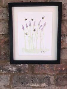 Bumble Bees on Lavender, Original Watercolour Painting, Original Art