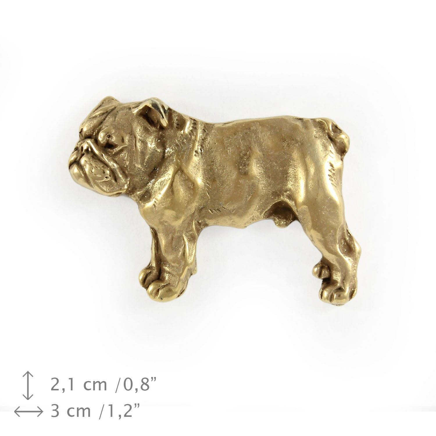 English Bulldog - dog, gold covered pin with dog, high quality, Art Dog