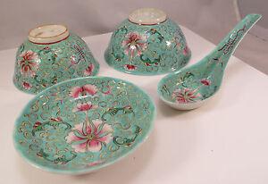 Antique-Chinese-Porcelain-Teal-Shou-Mark-Bowls-Saucer-Spoon-Set-2-of-2-China