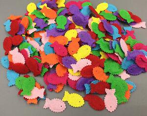 200-high-quality-Fish-shape-Felt-Appliques-Cardmaking-decoration-Mix-Color-23mm