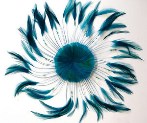 New ORANGE Hackle Feathers; Headbands//Hats//Pads//Costume ONE FEATHER PINWHEEL