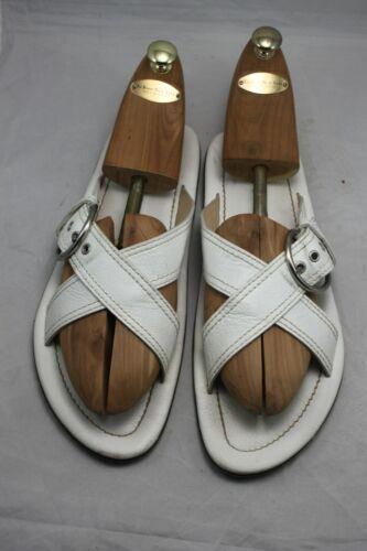 PRADA Men's Buckle Crisscross Leather Slide Sandal