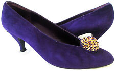 STUART WEITZMAN For Martinique Shoes Gold Purple Suede Leather Pumps Womens 10