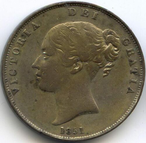UK VICTORIA 18371901 PENNY 1851 BELLE PATINA KM 739