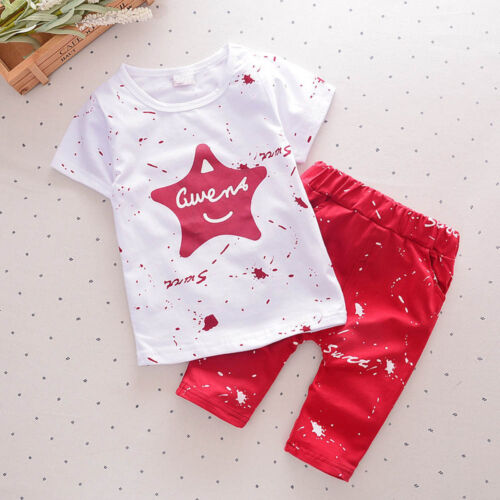 Toddler Child Baby Kid Boy Star T-Shirt Top Pants Outfit Clothes Set Tracksuit