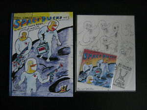 Daniel-Johnston-Space-Ducks-Lot-Book-Promo-Soundtrack-Signed-Early-Ducks-Drawing