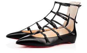 Image is loading Christian-Louboutin-TOERLESS-MUSE-Leather-Caged-Flat -Ballerina-