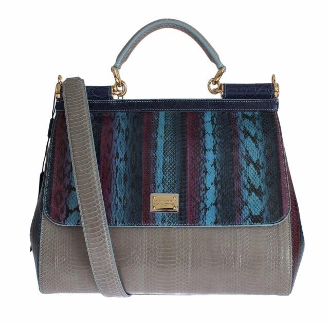 35ee741382 NWT DOLCE & GABBANA Multicolor Caiman Snakeskin Leather SICILY Hand Bag  Purse