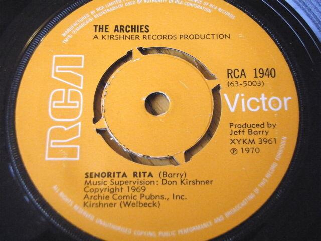 "THE ARCHIES - SENORITA RITA      7"" VINYL"