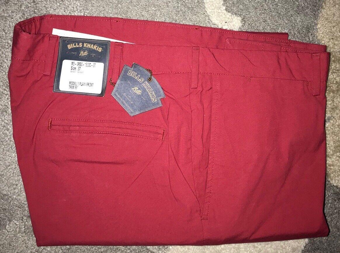 NWT-Bills khakis M3-SRSC Size 38X32 TRIM FIT Cuffed Hem Red MSRP
