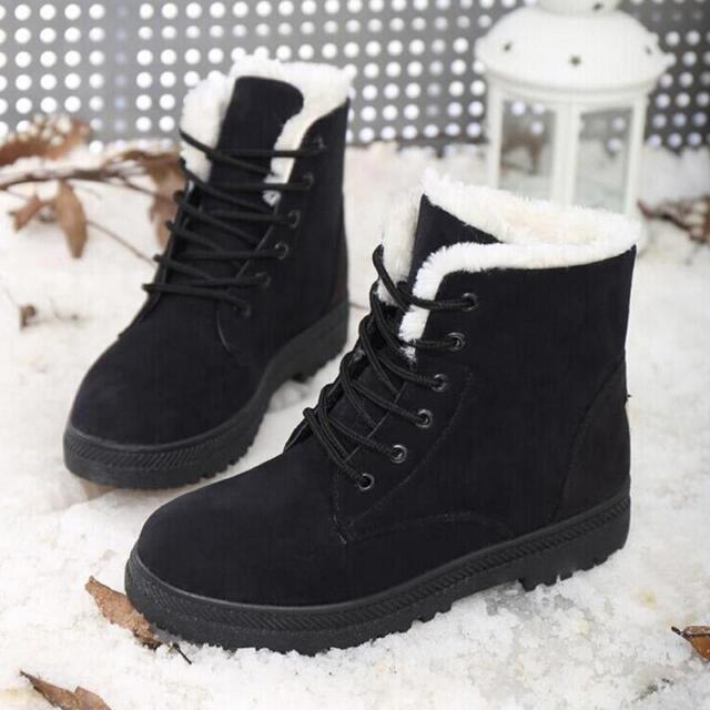 Women Winter Warm Stylish Faux Suede Fur Lace,up Ankle Boots Snow Boots  Shoe HM