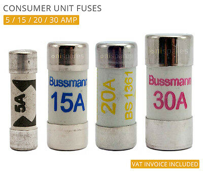 Fuse-Box For 5 Amp Lighting Circuit in Consumer Unit 10 Pack 5A BS1361 Fuses