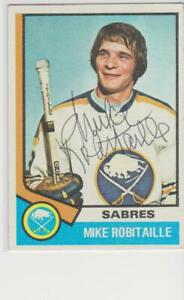 MIKE ROBITAILLE BUFFALO SABRES 1974-75 TOPPS #159 AUTOGRAPHED  CARD